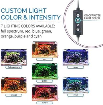 hygger Aquarienbeleuchtung, Aquarium LED Beleuchtung, 24/7 Modus für Sonnenaufgang-Tageslicht-Mondlicht, einstellbare Zeitschaltung einstellbare Helligkeit, mit ausziehbarer Halterung, 7 Farben - 2
