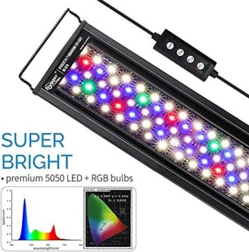 hygger Aquarienbeleuchtung, Aquarium LED Beleuchtung, 24/7 Modus für Sonnenaufgang-Tageslicht-Mondlicht, einstellbare Zeitschaltung einstellbare Helligkeit, mit ausziehbarer Halterung, 7 Farben - 4