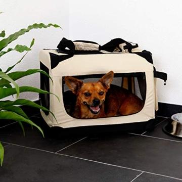 lionto by dibea Hundetransportbox Hundetasche Hundebox faltbare Kleintiertasche Größe (S) 50x34x36 cm Farbe Beige - 2