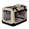 lionto by dibea Hundetransportbox Hundetasche Hundebox faltbare Kleintiertasche Größe (S) 50x34x36 cm Farbe Beige - 1