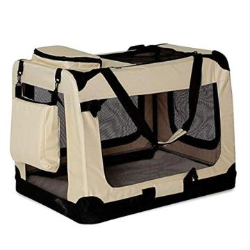 lionto by dibea Hundetransportbox Hundetasche Hundebox faltbare Kleintiertasche Größe (S) 50x34x36 cm Farbe Beige - 6