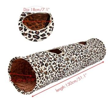 PAWZ Road Katzentunnel im Leoparden Design 2 Wege, Faltbar mit Spielball für Katzen Kätzchen 30 * 128cm - 2