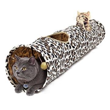 PAWZ Road Katzentunnel im Leoparden Design 2 Wege, Faltbar mit Spielball für Katzen Kätzchen 30 * 128cm - 1