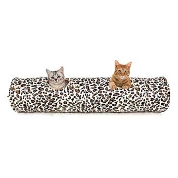 PAWZ Road Katzentunnel im Leoparden Design 2 Wege, Faltbar mit Spielball für Katzen Kätzchen 30 * 128cm - 9