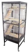 PETGARD Kleintierkäfig, großes XXL Nagervoliere auch für Ratten und Chinchilla, Gehege auf Rollen mit 4 Holzetage und weiterem Zubehör, 60x60x152,5 cm, Rio - 1