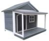 SAUERLAND Hundehütte aus Massivholz | wetterfeste Hundehütten mit Satteldach | isoliertes Hundehaus | Outdoor Hütte mit Vordach, Terrasse & Fenster | B 130 x T 118 x H 108 cm - 1