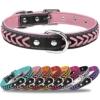 TagME Hundehalsband Leder für Mittlere Hunde,Geflochtenes, Weich Gepolstert Hundehalsbänder mit Doppelten D-Ringen, Rosa M - 1