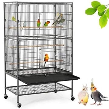 Yaheetech Vogelvoliere Nagerkäfig aus Metall Vogelkäfig mit schmutzwanneneinsatz für Nymphensittiche, Papageien, Tauben, Sittiche, Finken - 1