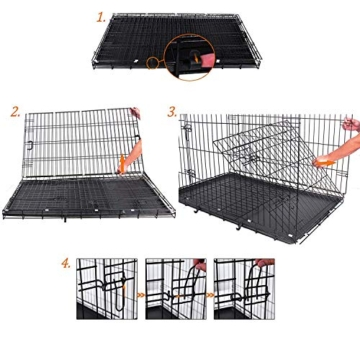 FEANDREA Hundekäfig, Hundebox, klappbar, 77,5 x 48,5 x 55,5 cm, schwarz PPD30H - 5