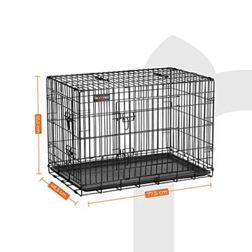 FEANDREA Hundekäfig, Hundebox, klappbar, 77,5 x 48,5 x 55,5 cm, schwarz PPD30H - 7