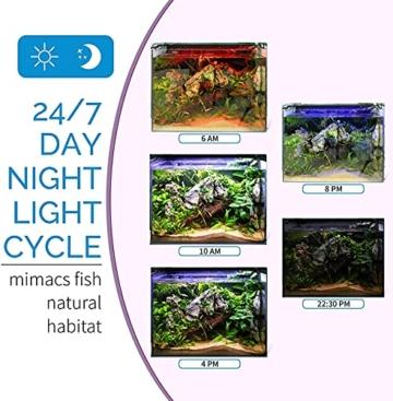 hygger Aquarienbeleuchtung, Aquarium LED Beleuchtung, 24/7 Modus für Sonnenaufgang-Tageslicht-Mondlicht, einstellbare Zeitschaltung einstellbare Helligkeit, mit ausziehbarer Halterung, 7 Farben - 5