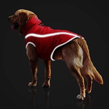 Idepet Wasserdichter Hundemantel für den Winter, Warme Jacke, Outdoor-Sport, wasserdichte Hundekleidung, Weste für kleine, mittelgroße und große Hunde mit Loch für Geschirr - 3