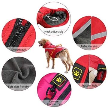 Idepet Wasserdichter Hundemantel für den Winter, Warme Jacke, Outdoor-Sport, wasserdichte Hundekleidung, Weste für kleine, mittelgroße und große Hunde mit Loch für Geschirr - 4