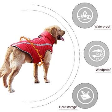 Idepet Wasserdichter Hundemantel für den Winter, Warme Jacke, Outdoor-Sport, wasserdichte Hundekleidung, Weste für kleine, mittelgroße und große Hunde mit Loch für Geschirr - 5