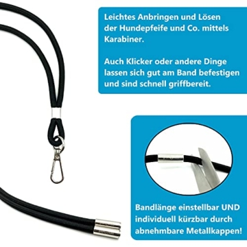 pamindo Hundepfeife mit Klicker & Band als Hundetraining Set - Stabiler & lauter Signal-Ton in Hochfrequenz - Pfeife in Farbe schwarz - 3