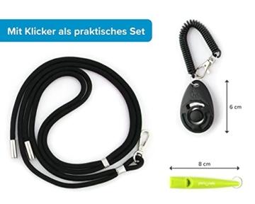 pamindo Hundepfeife mit Klicker & Band als Hundetraining Set - Stabiler & lauter Signal-Ton in Hochfrequenz - Pfeife in Farbe schwarz - 5