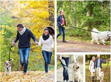 pecute Hunde Hundeleine Gross Hunde 5m, Einziehbar Hundeleine mit leuchtenden reflektierenden Maschen, Ergonomischem rutschfest-Griff, Kostenlose Müllbox und Müllsack,Maximale Belastung 110 Pfund - 2