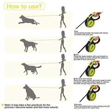 pecute Hunde Hundeleine Gross Hunde 5m, Einziehbar Hundeleine mit leuchtenden reflektierenden Maschen, Ergonomischem rutschfest-Griff, Kostenlose Müllbox und Müllsack,Maximale Belastung 110 Pfund - 7